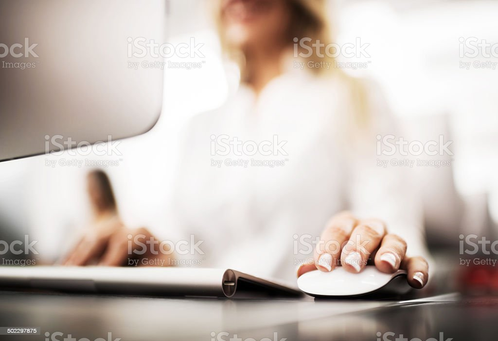 Using computer. stock photo