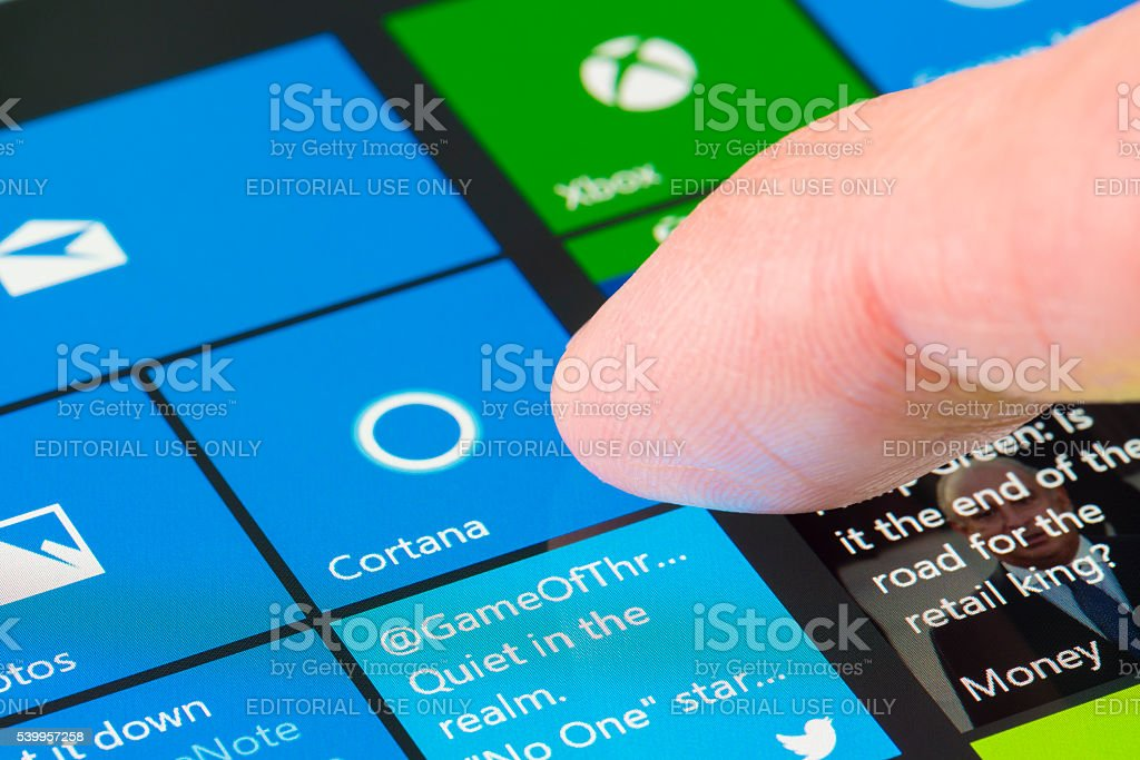 Using Cortana on Surface Pro 4 stock photo