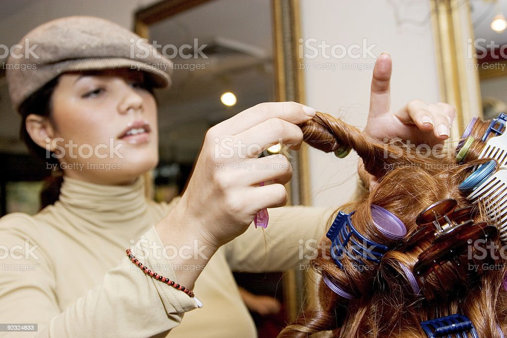 Using Curlers royalty-free stock photo