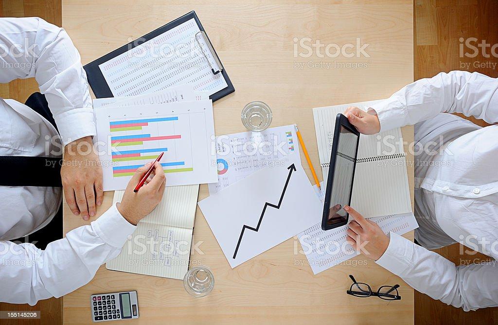 Using digital tablet at work royalty-free stock photo