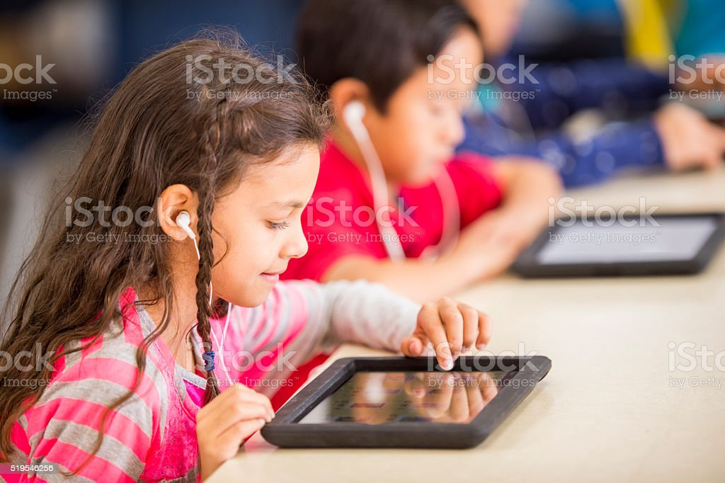Using Digital Tablets in Class stock photo