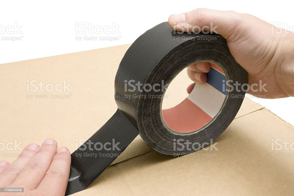 Using Duct Tape royalty-free stock photo