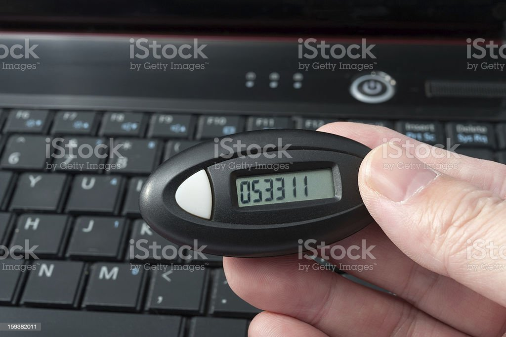 Using dynamic password card stock photo