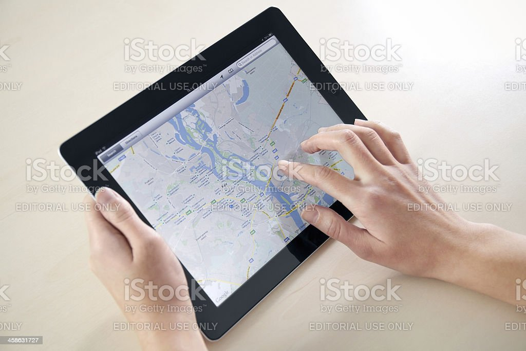 Using Google Maps On Apple iPad2 stock photo