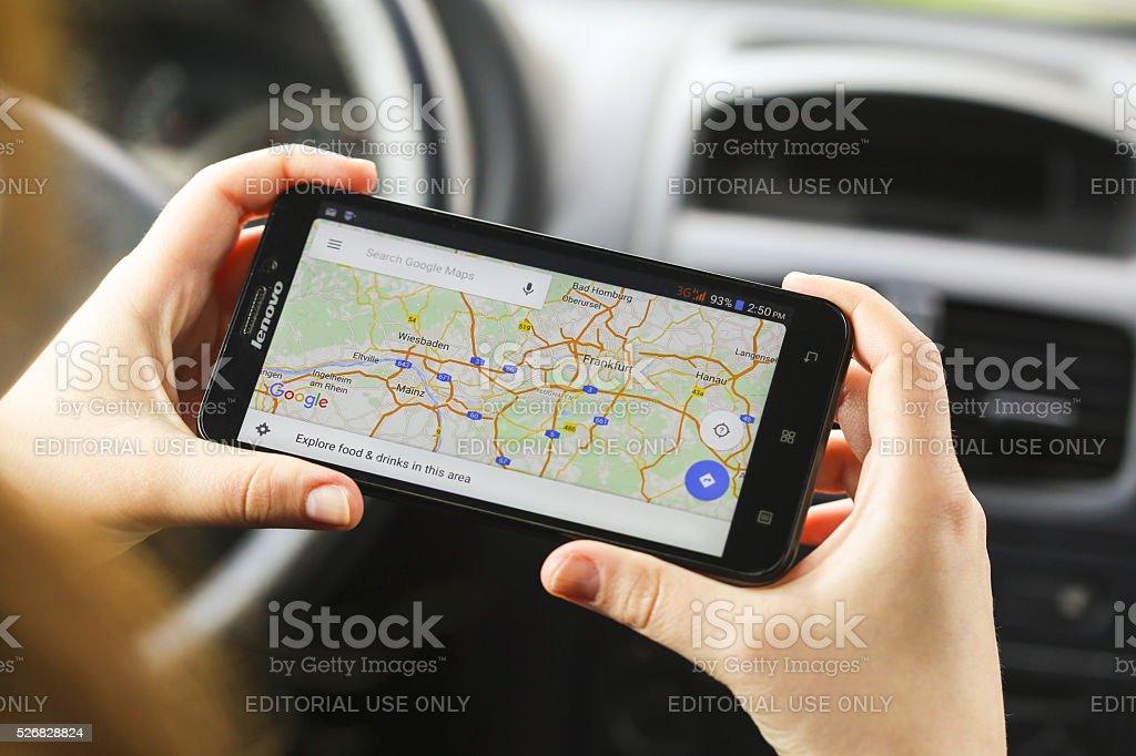Using Google Maps stock photo