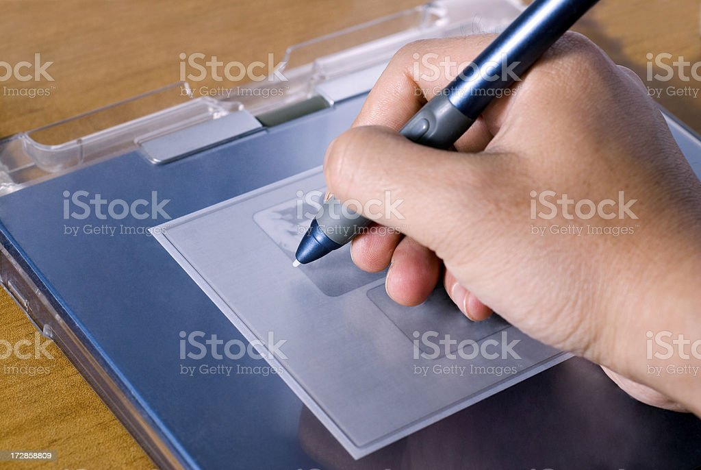 using graphic tablet stock photo