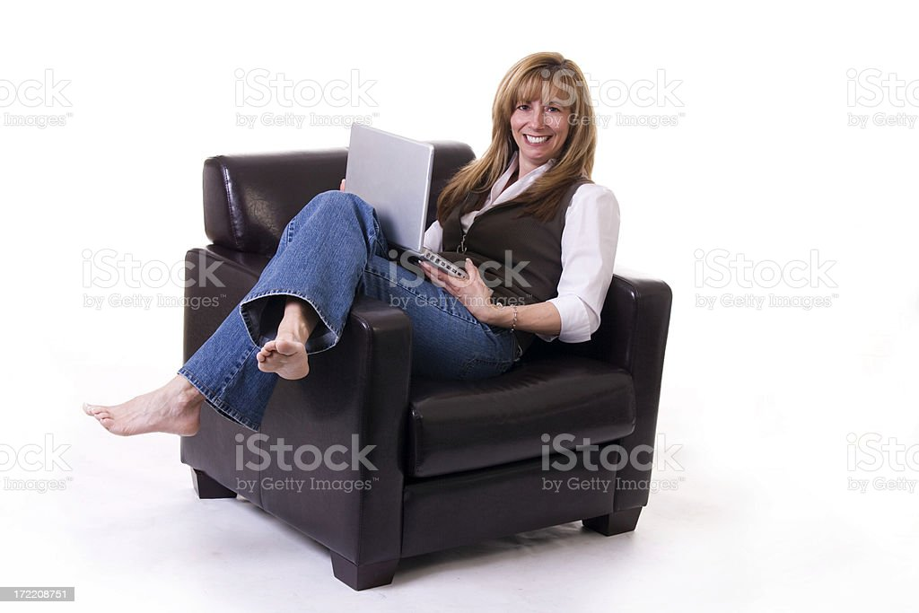 Using her Lap Top royalty-free stock photo