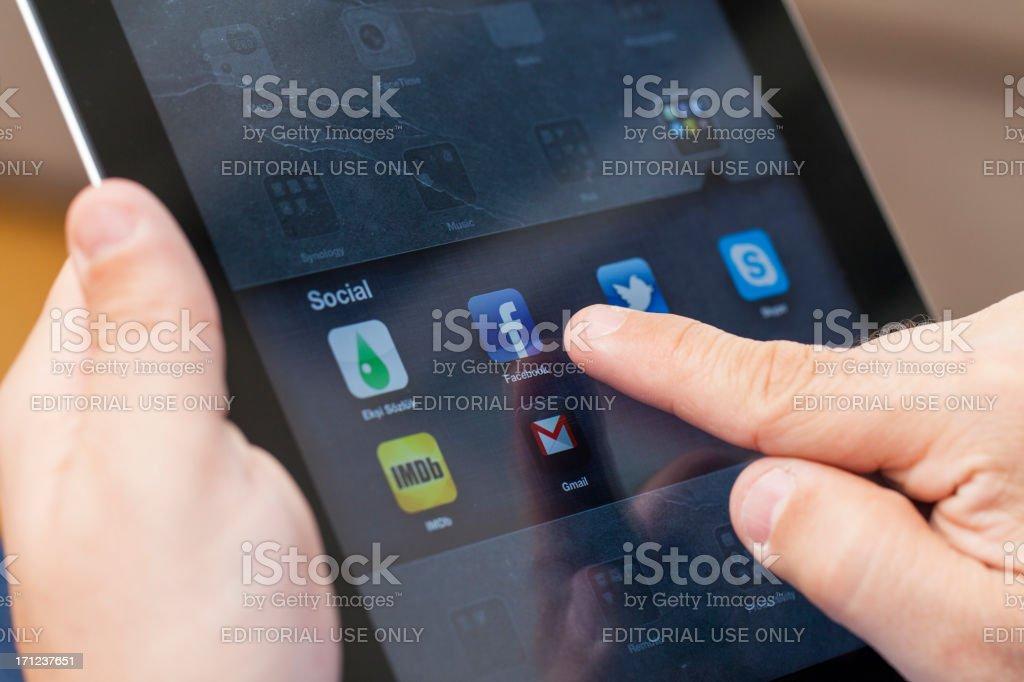 Using ipad stock photo