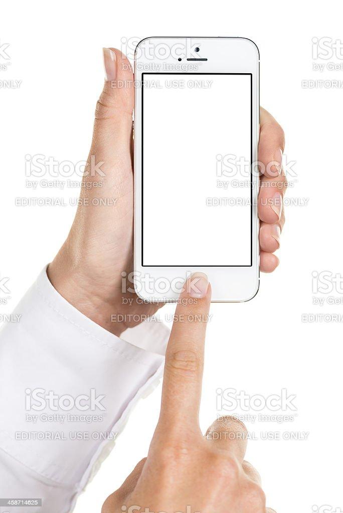Using iPhone 5 royalty-free stock photo