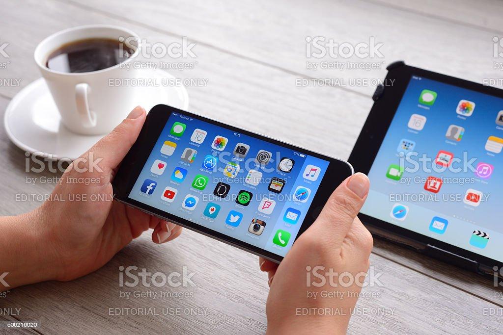 Using iPhone 6 Plus horizontal stock photo