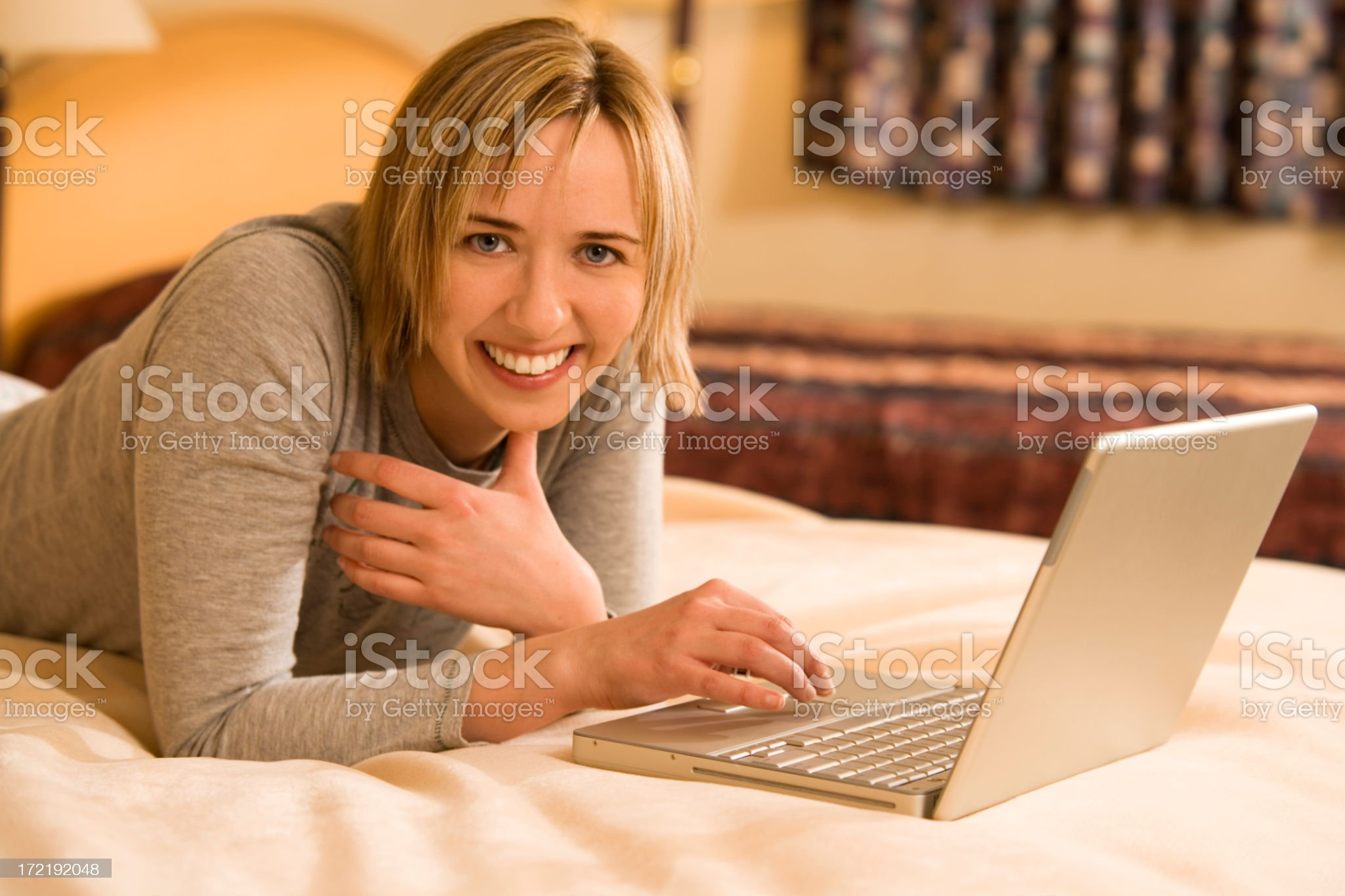 Using Lap Top in Hotel Room royalty-free stock photo
