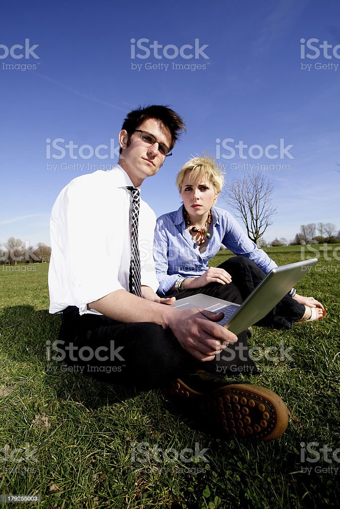 using laptop in the park royalty-free stock photo