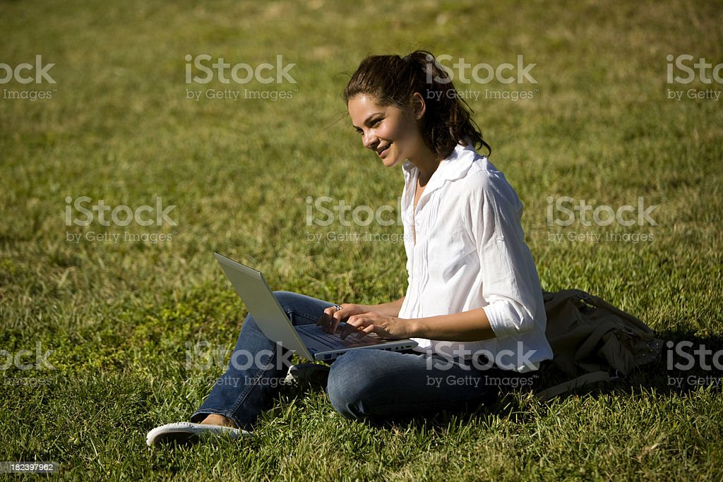 Using laptop royalty-free stock photo