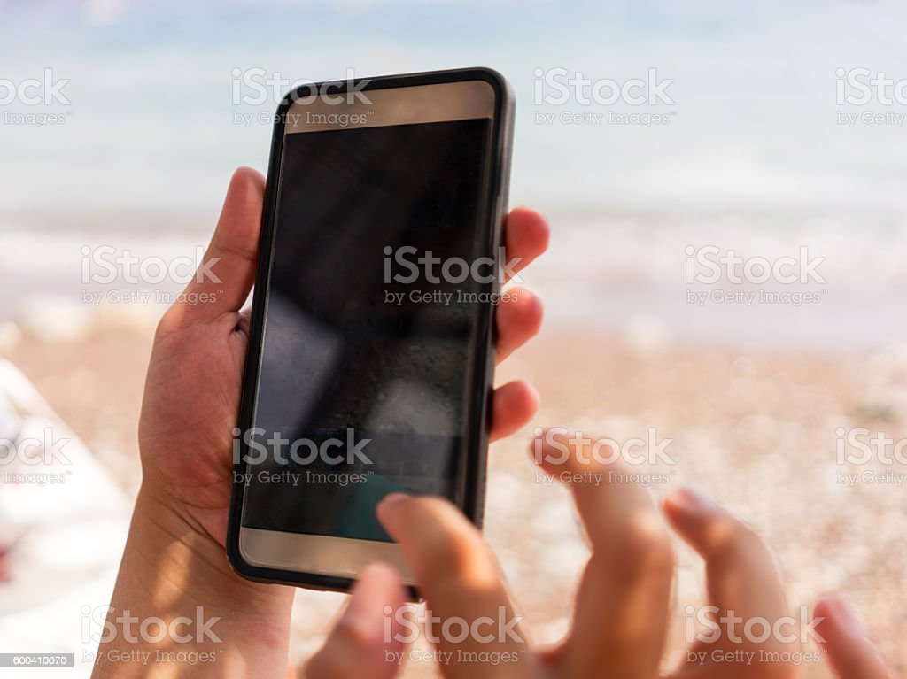 Using Mobil Phone stock photo