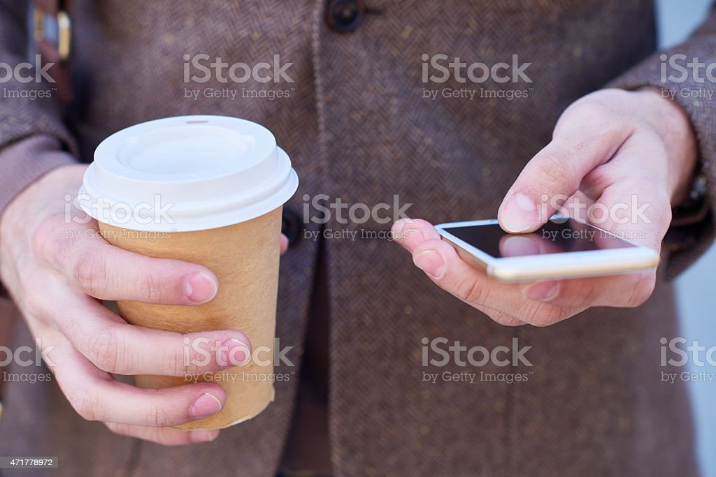 Using mobile Internet stock photo