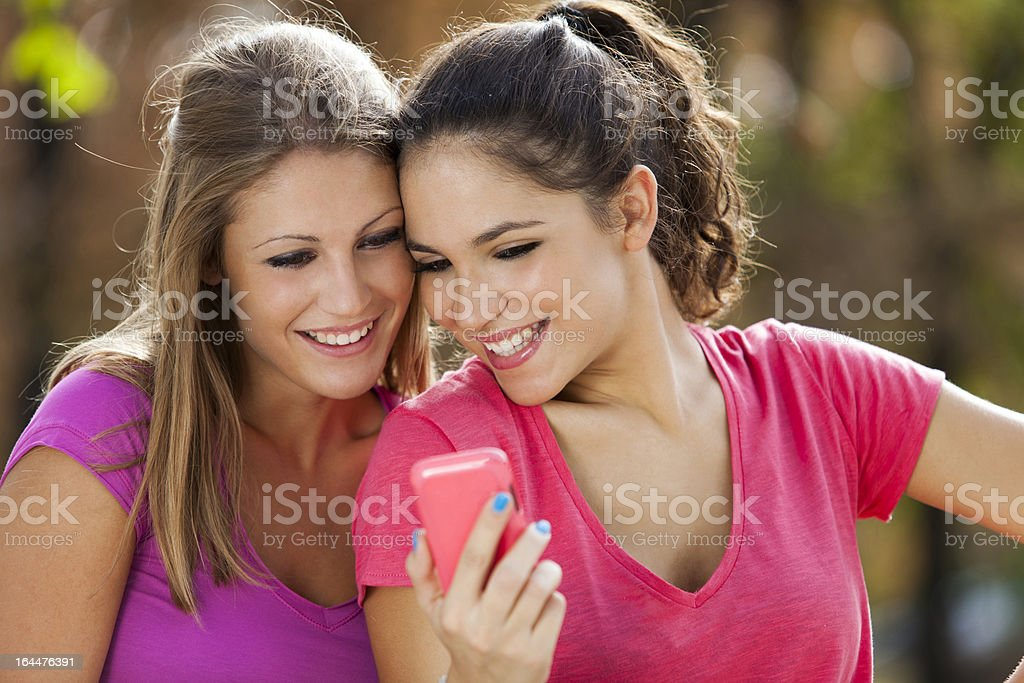 Using mobile phone royalty-free stock photo