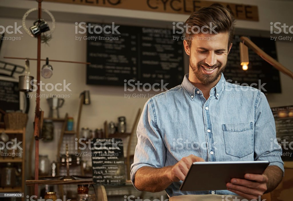 Using modern tech to run my business stock photo
