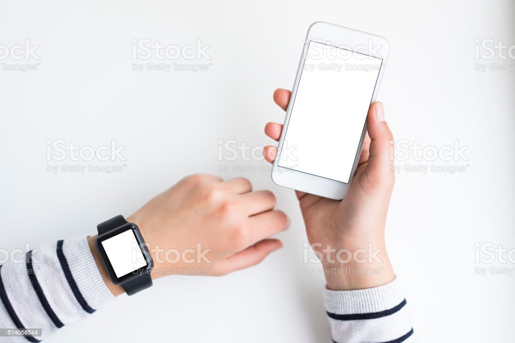 Using smart devices stock photo