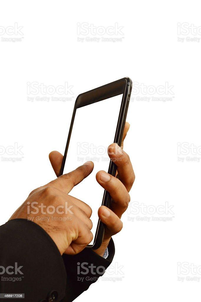 Using smart phone isolated overwhite - phone screen edited white. stock photo