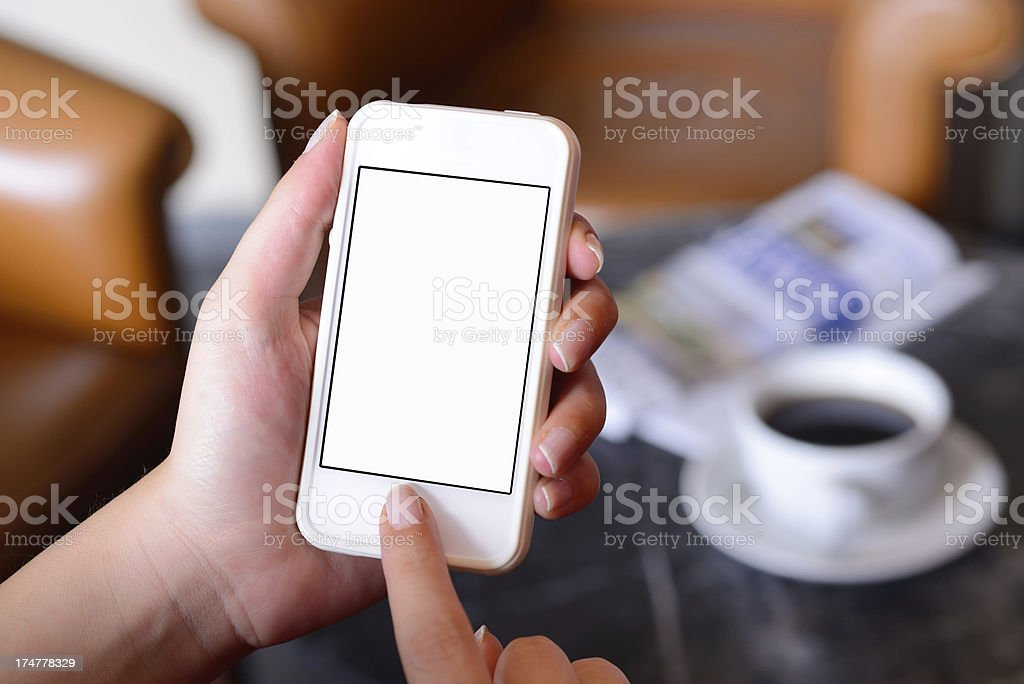 Using smart phone royalty-free stock photo