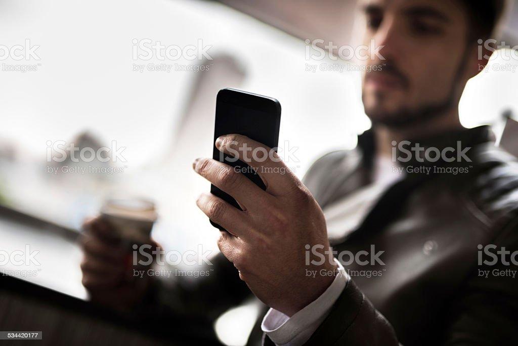 Using smart phone. stock photo