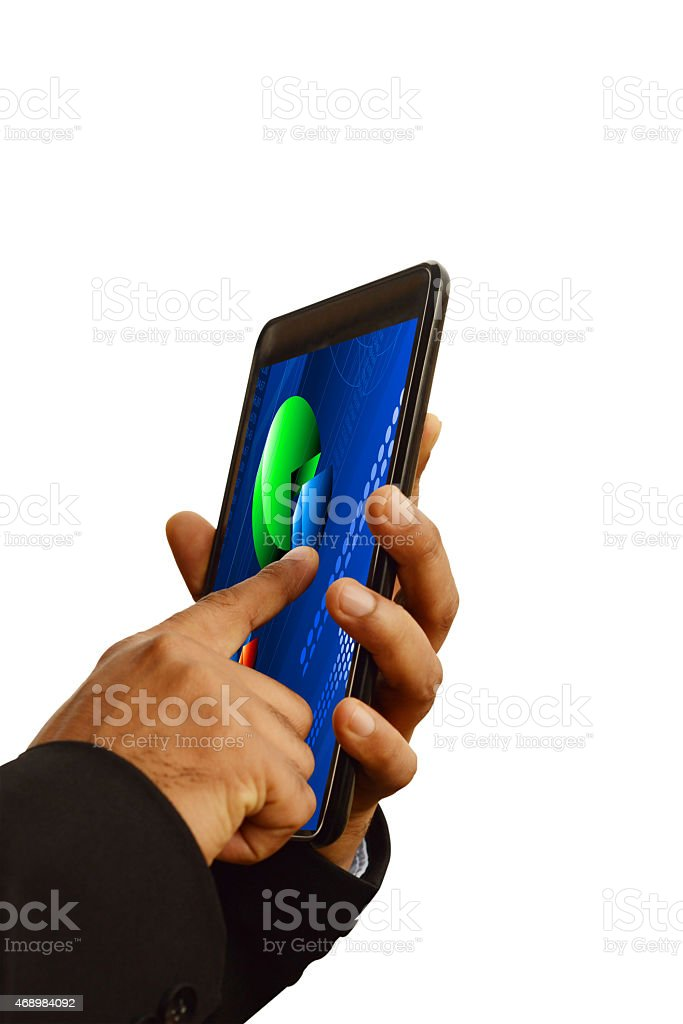 Using smart phone showing business pie chart isolated overwhite stock photo