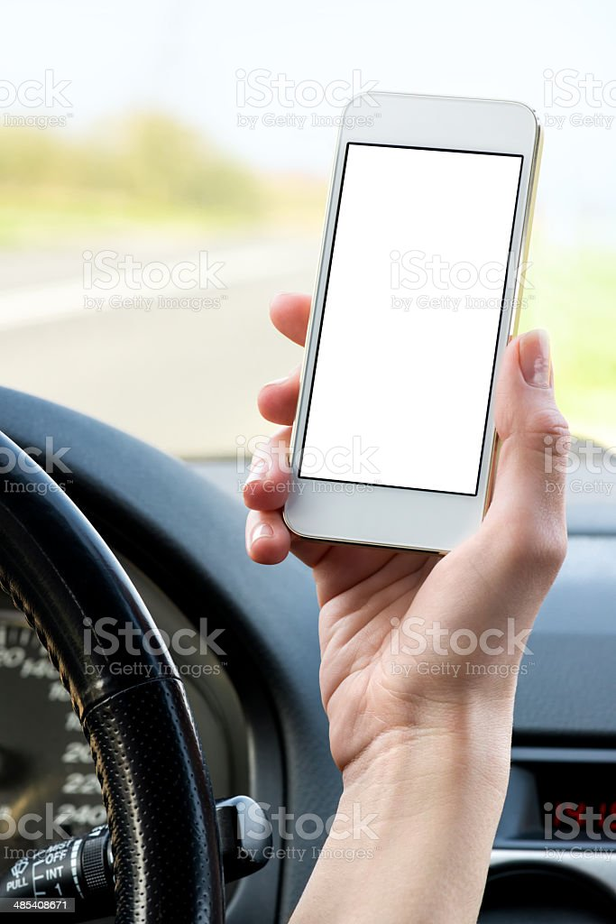 Using smart phone with a blank screen royalty-free stock photo