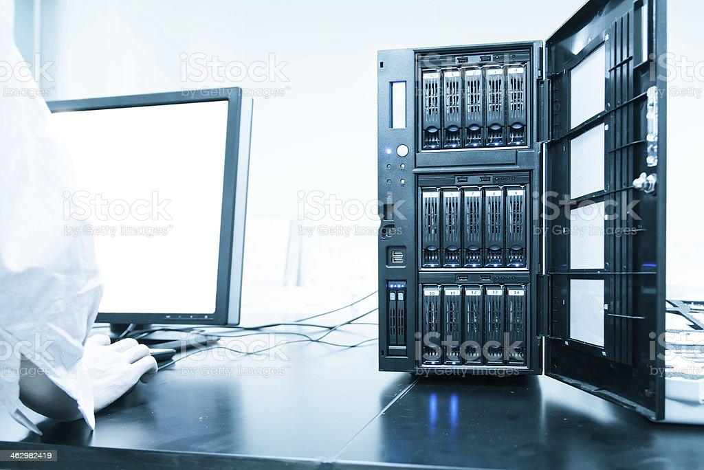 using super computer. stock photo