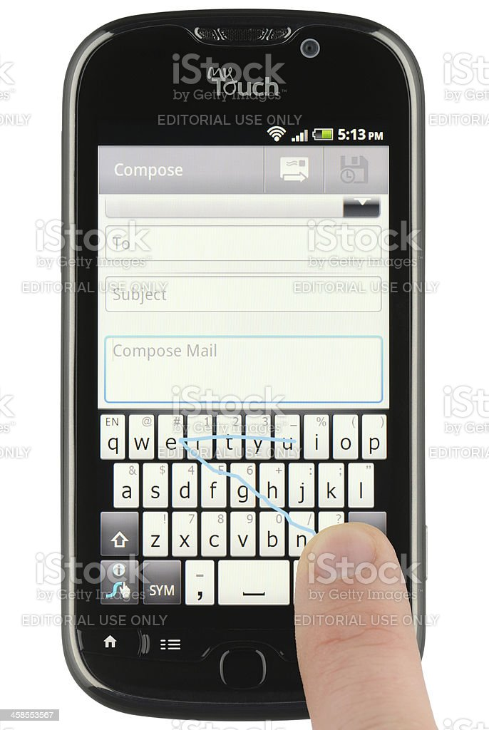 Using Swype on an Android Phone stock photo
