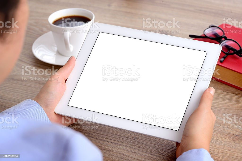Using tablet computer stock photo