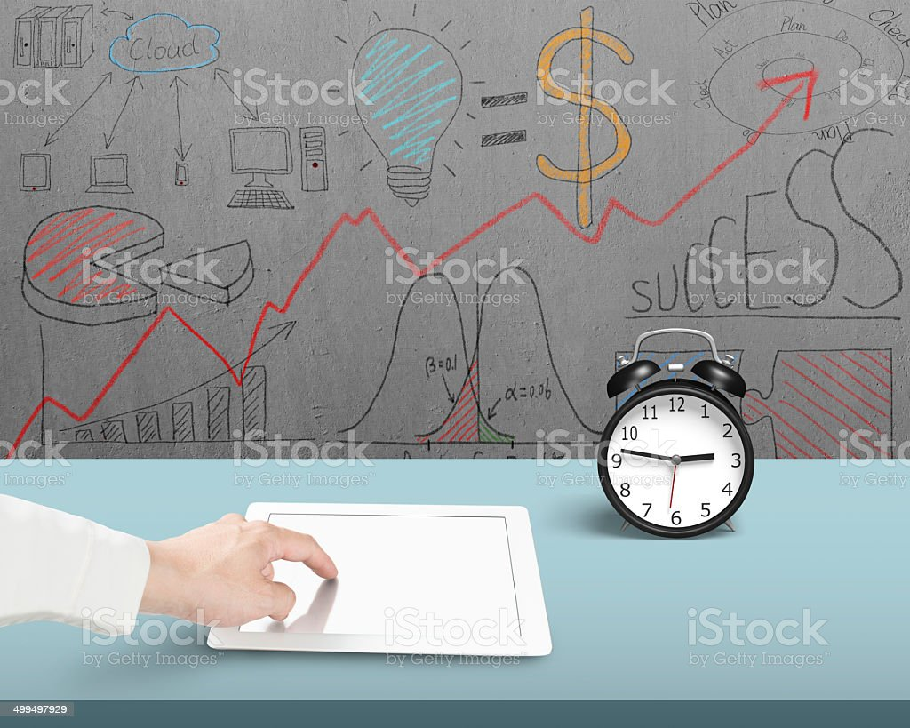 Using tablet in office royalty-free stock photo