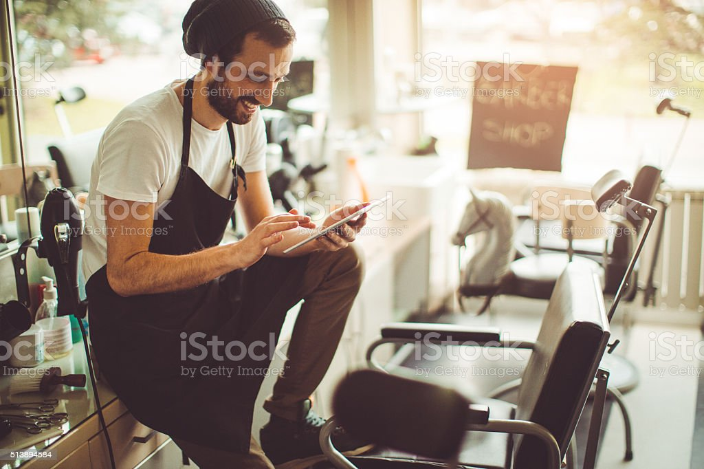 Using technology for my business stock photo