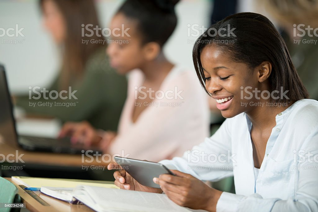 Using Technology in Class stock photo