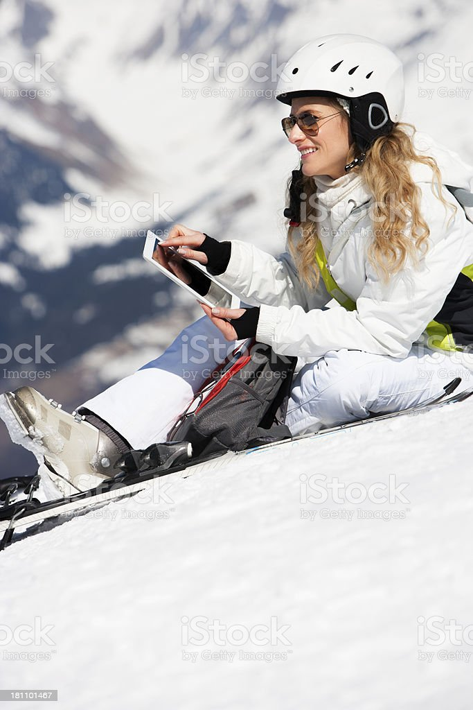 Using Technology on the Slopes royalty-free stock photo