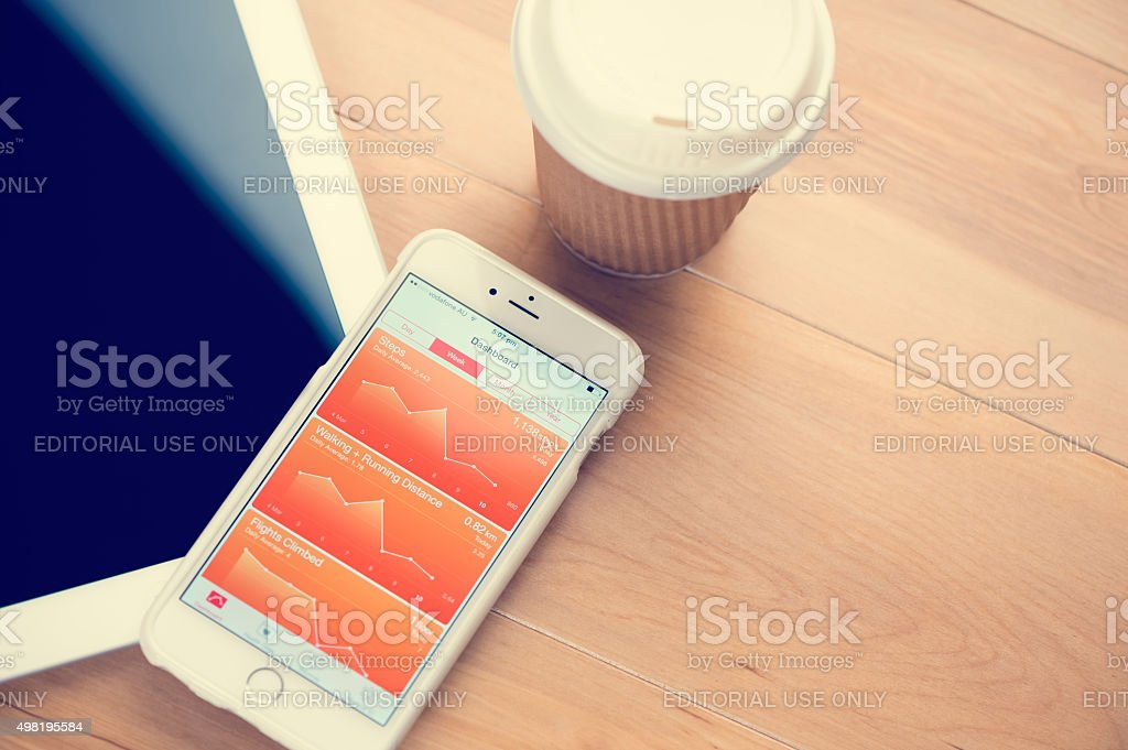 Using the Health app on an iPhone 6. stock photo