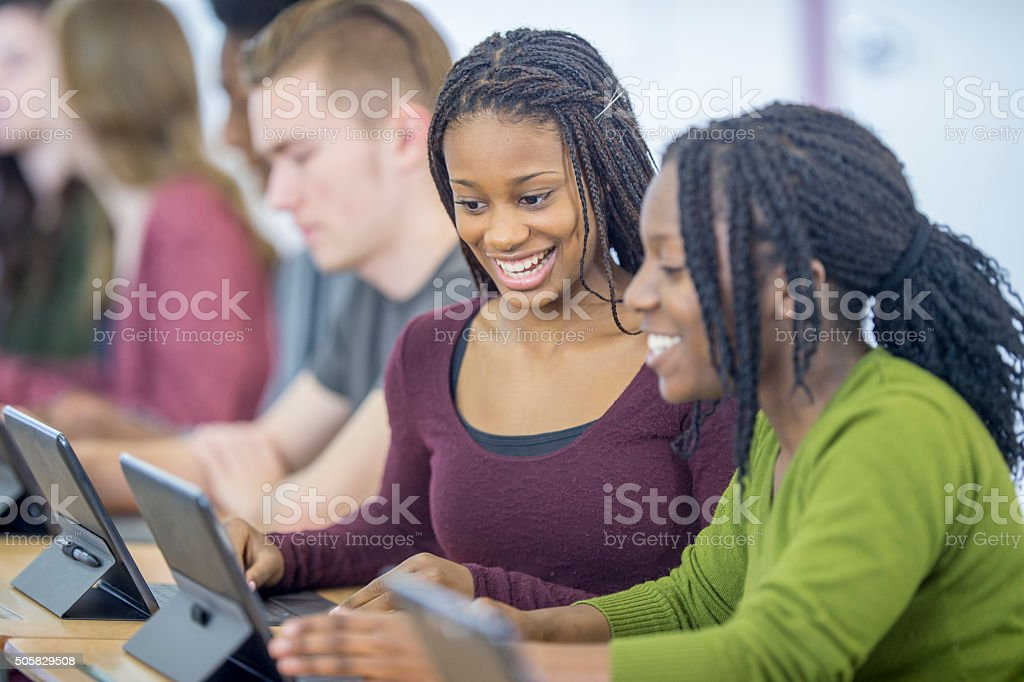 Using the Internet to Finish a School Project stock photo