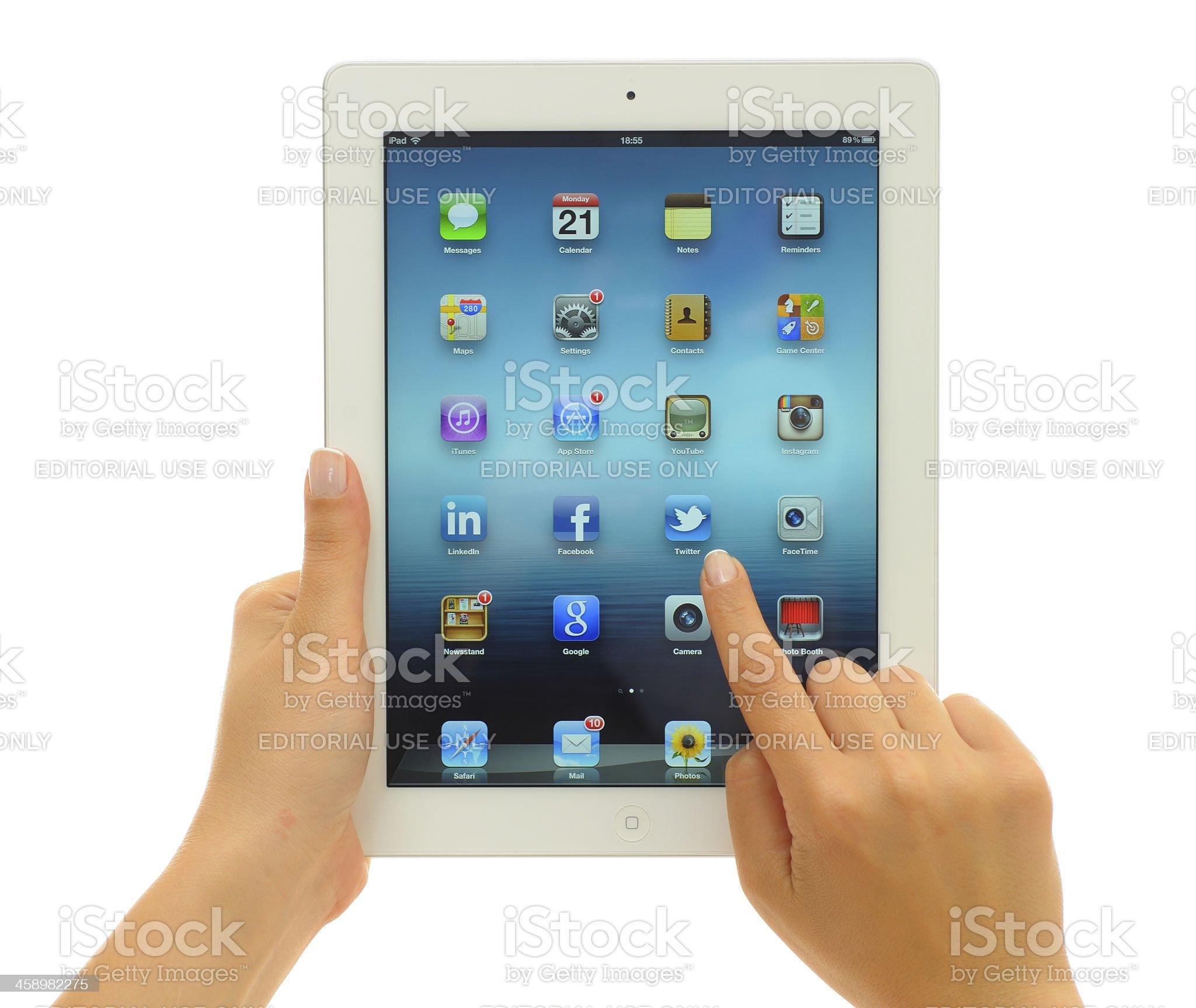 Using The New iPad 3 royalty-free stock photo