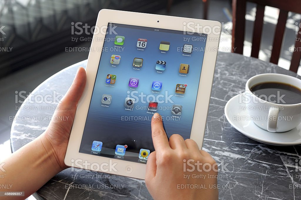 Using The New iPad 3 royalty-free stock photo