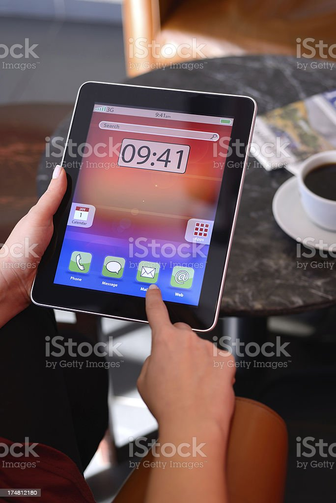 Using touch screen tablet pc royalty-free stock photo