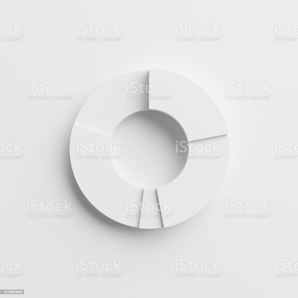 3D BLANK PIE CHART using white card paper stock photo