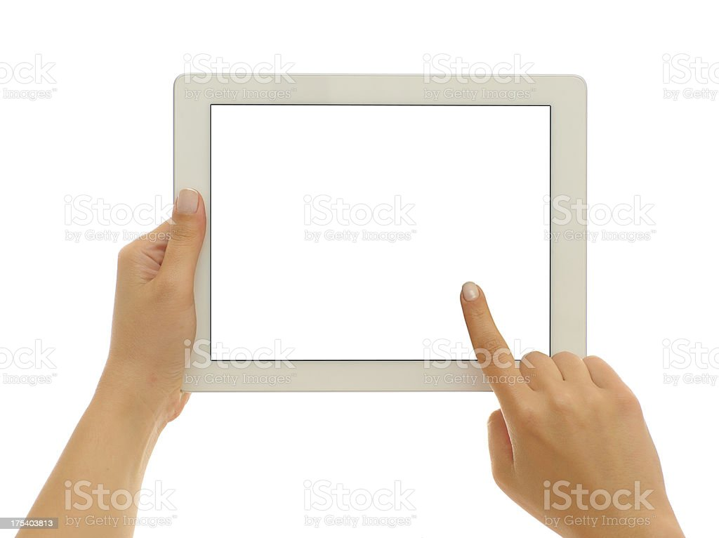 Using white screen tablet pc stock photo