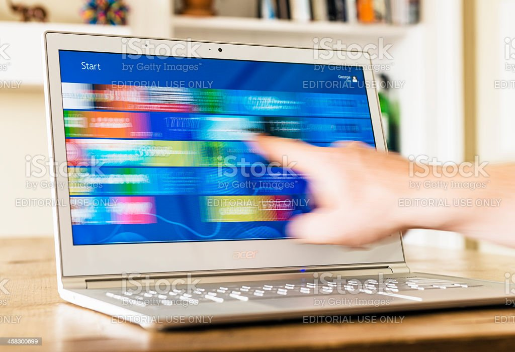 Using Windows 8 Metro Screen stock photo