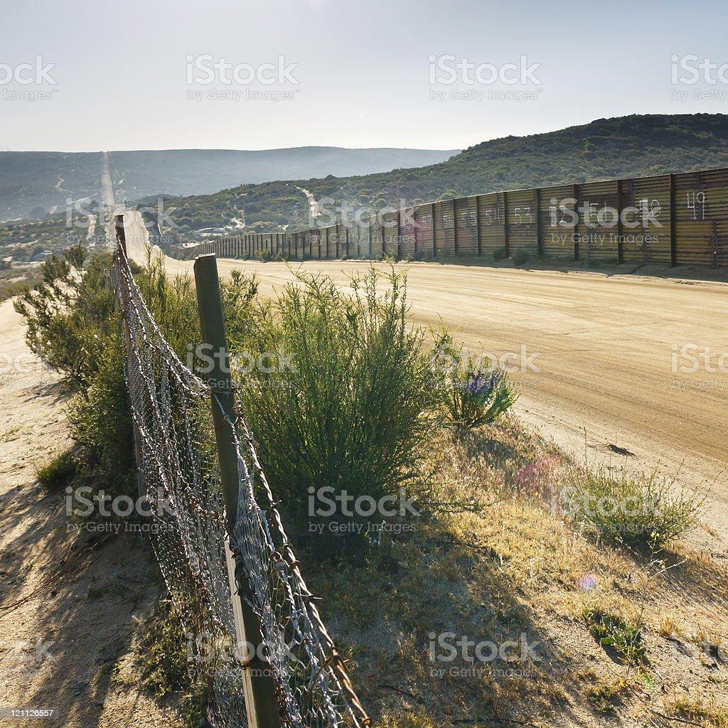 US/Mexico Border Fence royalty-free stock photo