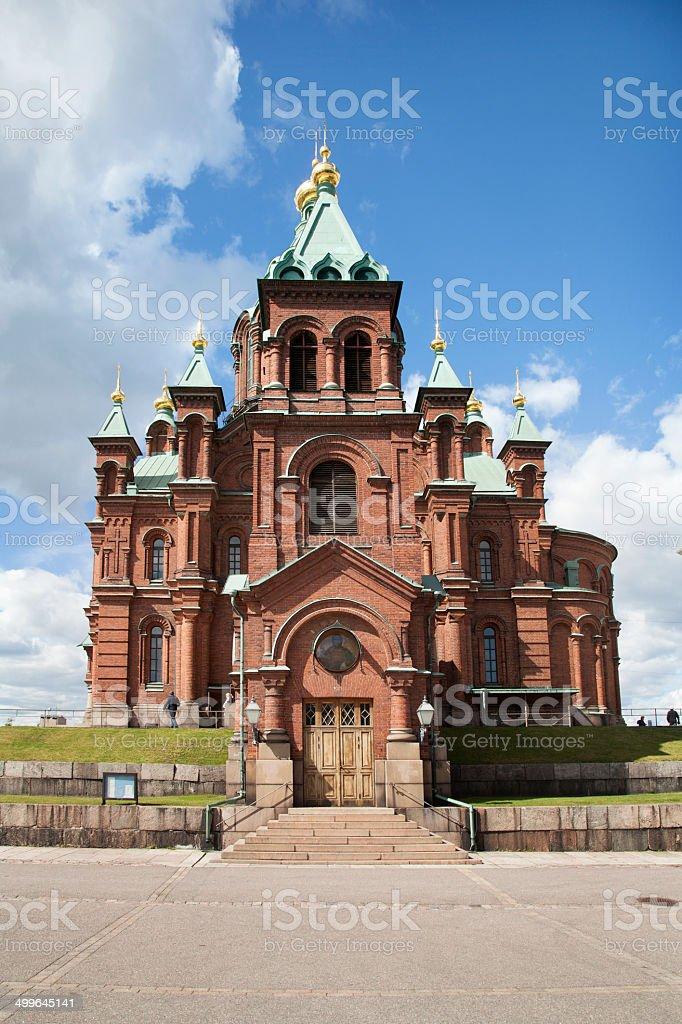uspenski cathedral and blue sky in helsinki stock photo