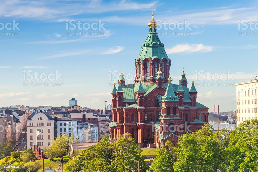 Uspenski Cathedral, Eastern Orthodox cathedral, Helsinki stock photo
