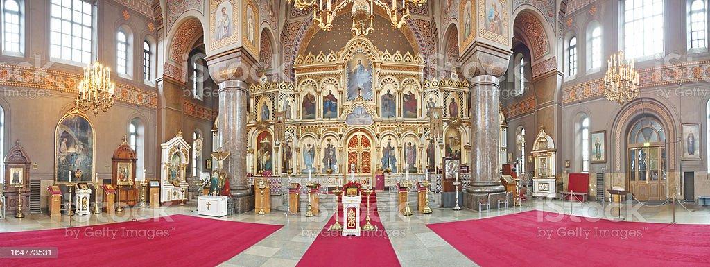 Uspenski Cathedral interior. Stitched panorama. royalty-free stock photo