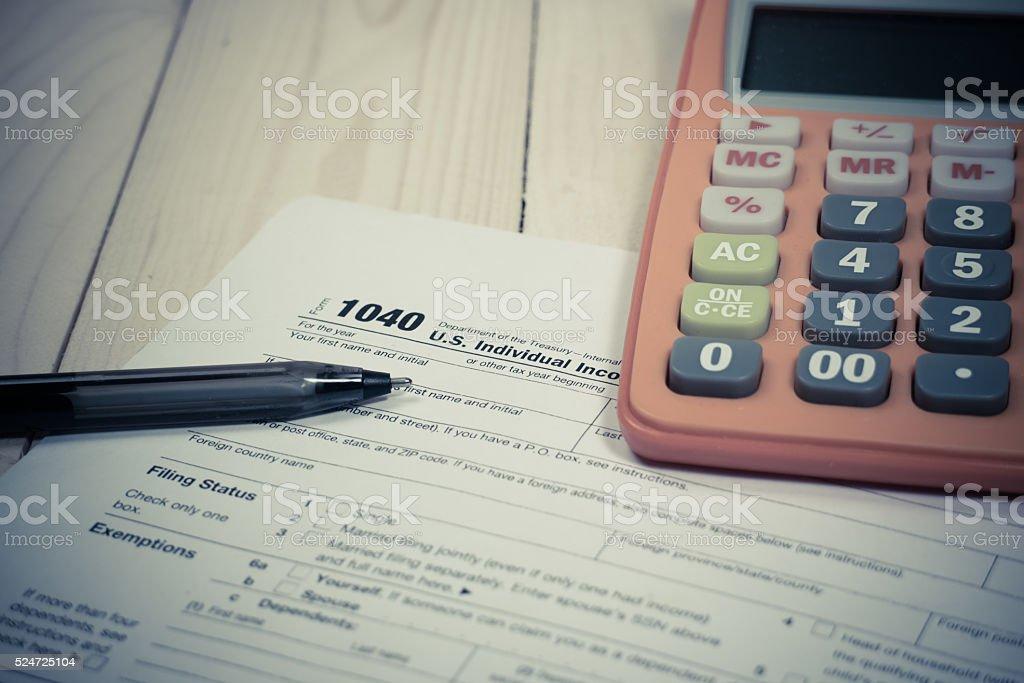u.s.tax form 1040 stock photo