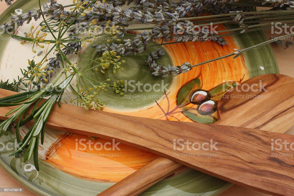 Ustensiles de Cuisine - Bois d'olivier stock photo