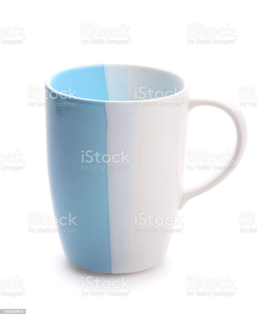 usual blue cup isolated on white background stock photo