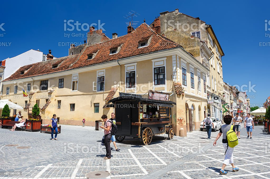 Usual day at Council Square, Brasov stock photo